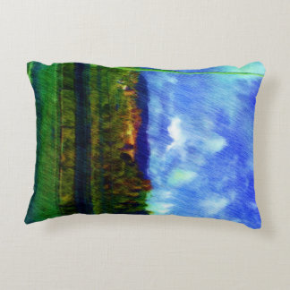 Road nature painting photo accent pillow