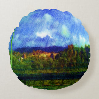 Road nature painting photo round pillow