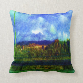 Road nature painting photo throw pillows