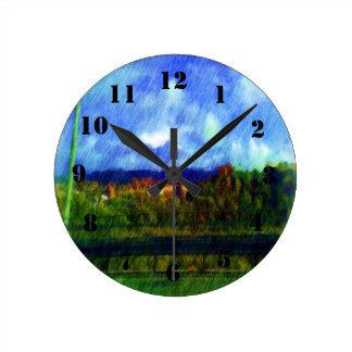 Road nature painting photo round clock