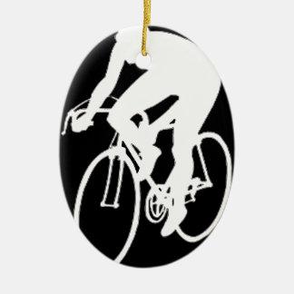 """""""Road racing cyclist"""" Ceramic Ornament"""