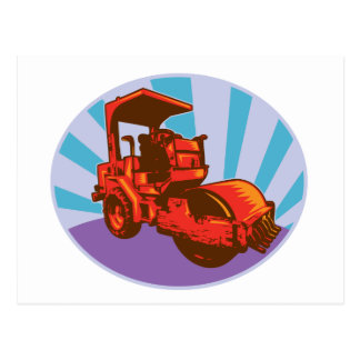 road roller construction equipment postcards
