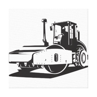 Road Roller  Retro Stretched Canvas Print
