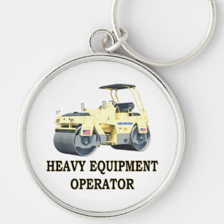 ROAD ROLLER Silver-Colored ROUND KEYCHAIN