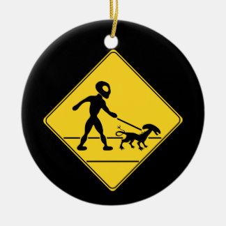 Road Sign- Alien Crossing Ceramic Ornament