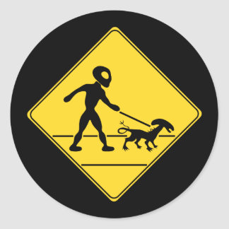 Road Sign- Alien Crossing Classic Round Sticker