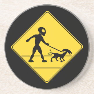 Road Sign- Alien Crossing Drink Coaster