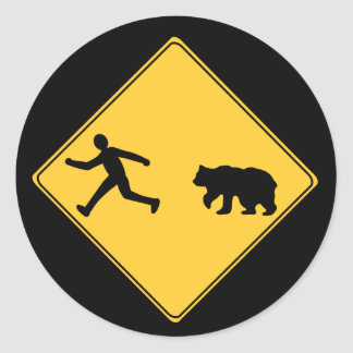 Road Sign- Bear Classic Round Sticker