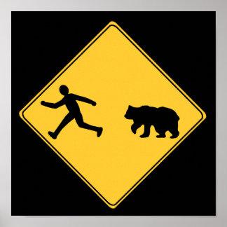 Road Sign- Bear Poster