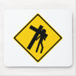 Road Sign Carrying Cross Mouse Pad