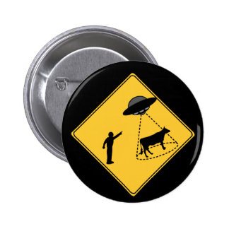 Road Sign- Cow and UFO 2 Inch Round Button