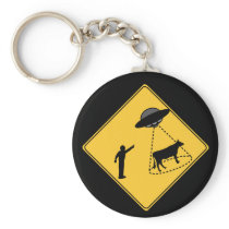 Road Sign- Cow and UFO Keychain