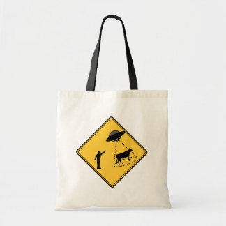 Road Sign- Cow and UFO Tote Bag
