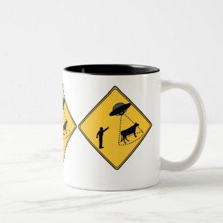 Road Sign- Cow and UFO Two-Tone Coffee Mug