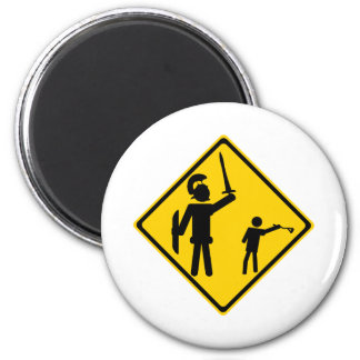 Road Sign David and Goliath 2 Inch Round Magnet