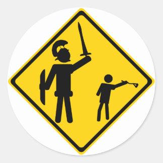 Road Sign David and Goliath Classic Round Sticker