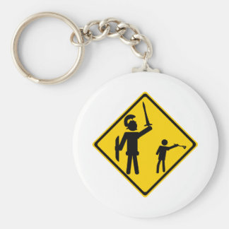 Road Sign David and Goliath Keychains