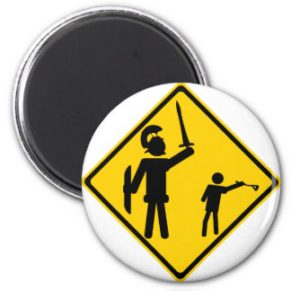 Road Sign David and Goliath Magnet