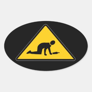 Road Sign- Drunk Crossing Oval Sticker