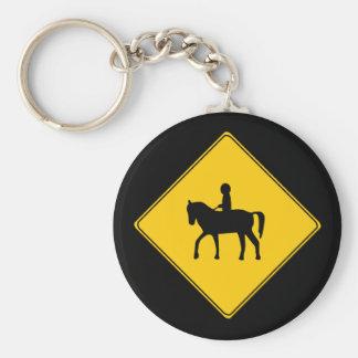 Road Sign- Horseback Rider Keychain