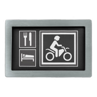 Road Sign Icons - EAT SLEEP RIDE! Motorcycle Racer Rectangular Belt Buckle