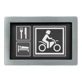 Road Sign Icons - EAT SLEEP RIDE! Motorcycle Racer Rectangular Belt Buckle