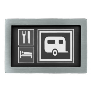 Road Sign Icons - EAT SLEEP RV Trailer Camping Belt Buckle