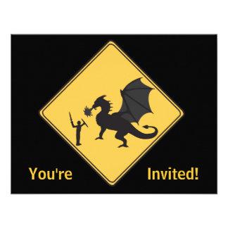 Road Sign- Knight Dragon Invitation