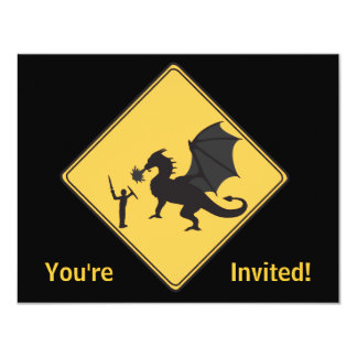 Road Sign- Knight & Dragon Invitation