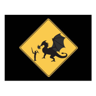 Road Sign- Knight & Dragon Postcard