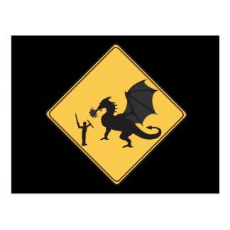 Road Sign- Knight & Dragon Postcard