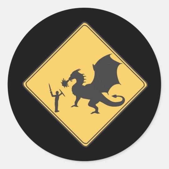 Road Sign- Knight & Dragon Sticker