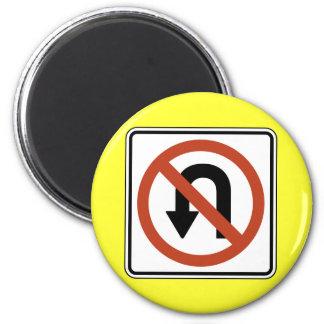 Road Sign - No U Turn 2 Inch Round Magnet