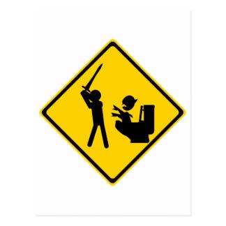 Road Sign Poop Goblin 2 Postcard