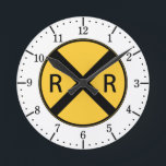 "Road Sign Railroad Road Crossing Round Clock<br><div class=""desc"">A classic yellow sign showing a railroad sign.</div>"