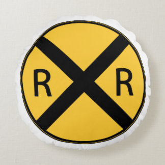 Road Sign Railroad Road Crossing Round Pillow