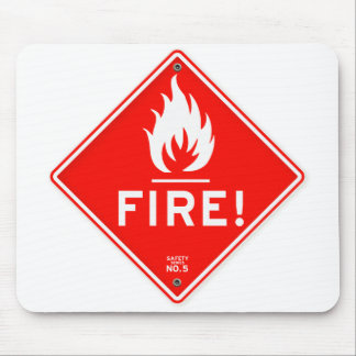 Road Sign Red Warning Sign Fire Hazard Mouse Pad