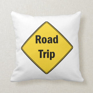 Road Sign- Road Trip Throw Pillow