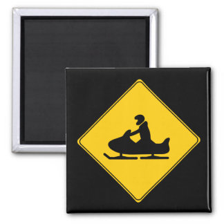 Road Sign- Snowmobile 2 Inch Square Magnet