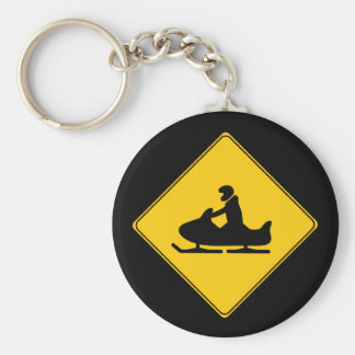 Road Sign- Snowmobile Basic Round Button Keychain