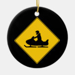 Road Sign- Snowmobile Double-Sided Ceramic Round Christmas Ornament
