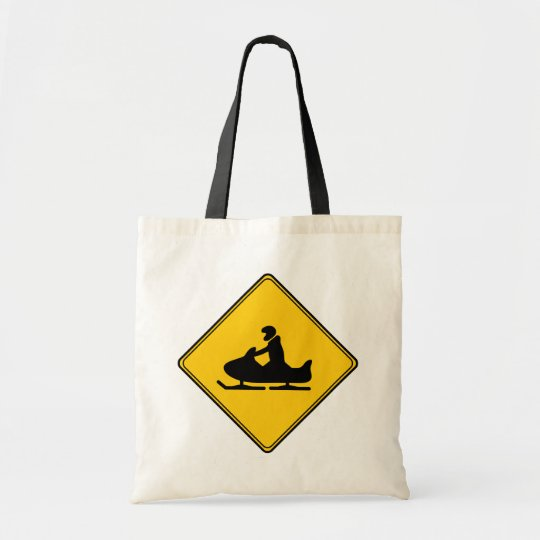 Road Sign- Snowmobile Tote Bag