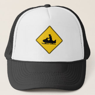 Road Sign- Snowmobile Trucker Hat