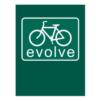 Road Sign Style EVOLVE Bicycle Art Postcard