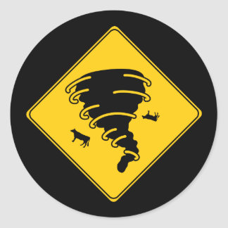 Road Sign- Tornado Classic Round Sticker