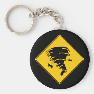 Road Sign- Tornado Basic Round Button Keychain