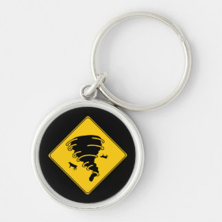 Road Sign- Tornado Silver-Colored Round Keychain