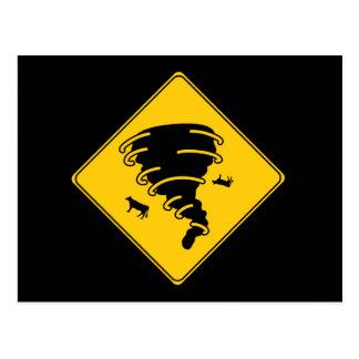 Road Sign- Tornado Postcard