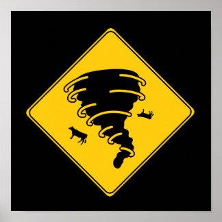 Road Sign- Tornado Poster