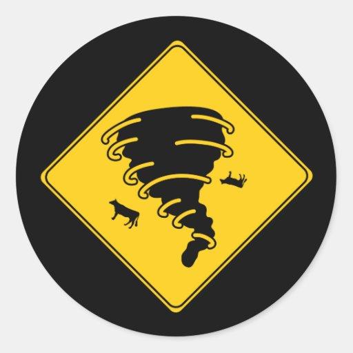 Road Sign- Tornado Round Sticker